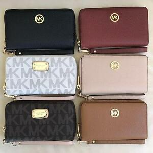 new michael kors jet set zip around phone case wallet wristlet rh ebay com