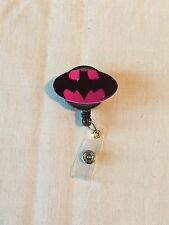Oval Hot Pink Batman Inspired Retractable Reel ID Badge Holder Lanyard Hook Sd
