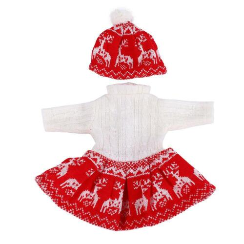 Doll Accessory Winter Clothes Set Sweater Dress Beanie Hat for 18inch Baby Doll