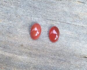 2-PC-OVAL-CUT-SHAPE-NATURAL-CARNELIAN-6x4MM-CABOCHON-LOOSE-GEMSTONES