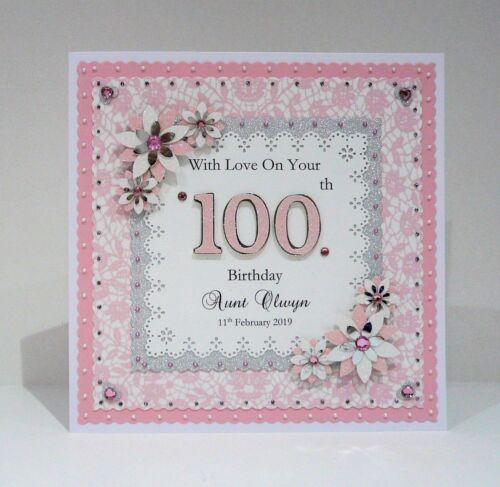 100th Birthday Card for Mum//Nan//Grandad//Dad etc Personalised Handmade