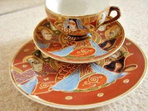 Japanese Tea Cup Saucer /& Side Plate Kutani Porcelain Trio Oriental Eggshell