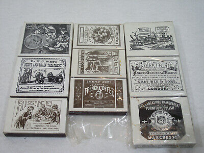 Goedhartig Lot De 9 Boites D'allumettes Neuves Publicitaire Victorian Victorien England