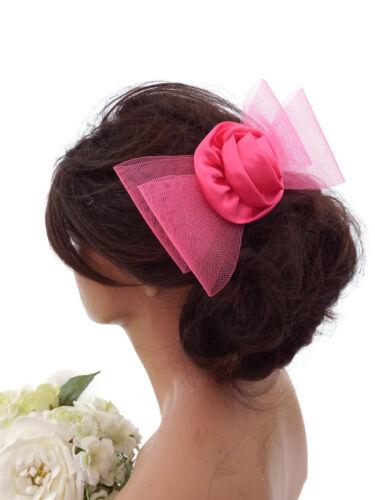 Pink larges mailles net bow satin rosette cheveux peigne diapositive à demoiselle d/'honneur