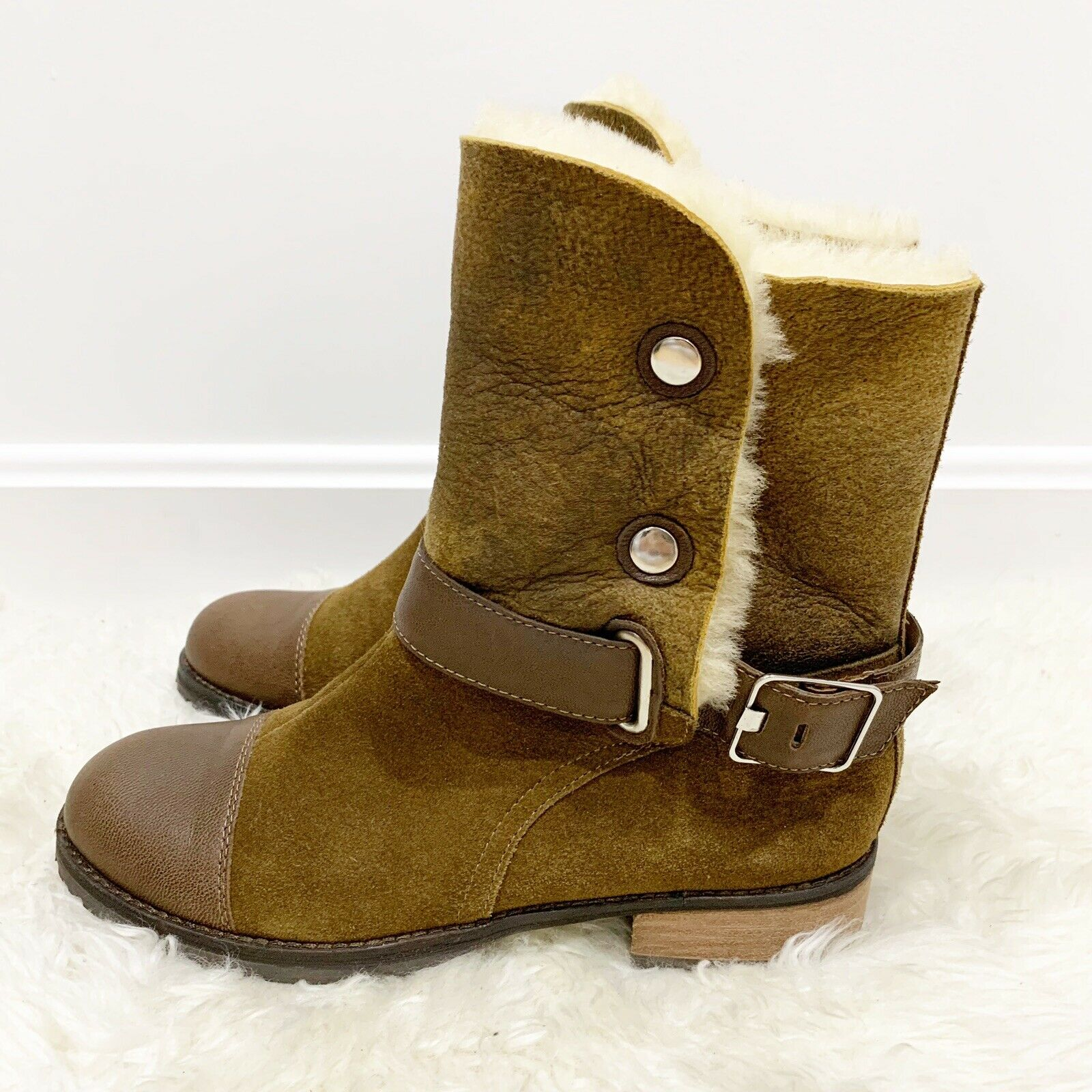 389 MATT BERNSON Tundra Brown Leather Suede Shearling Boots Sz 7 Anthropologie