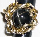 Huge Black Star Diopside ring 14 Karat gold and 22 Karat stone, size 7