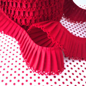 Pleated Trim Picot Edging - Red - Cotton Fabric
