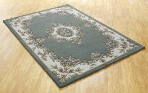 Tusaro Aubusson Green Wool Rug in various sizes half moon and circle