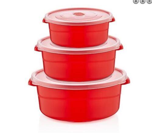 3pc Chauffage par hyperfréquences nourriture cuisine bols Pot Pan Récipient avec couvercle nouveau