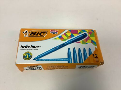 12 Count FREE SHIPPING Blue BIC Brite Liner Highlighter Chisel Tip
