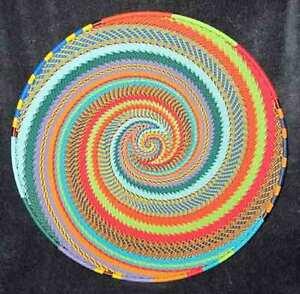 Crazy Tweed Swirl African Zulu Telephone Wire Basket/Platter LARGE - Kwanzaa