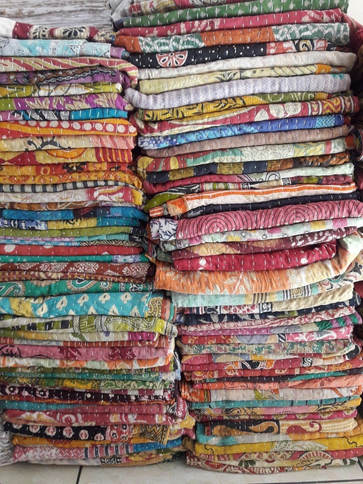VINTAGE KANTHA QUILT WHOLESALE LOT INDIAN BLANKET THROW HIPPY BOHEMIAN BEDSPREAD