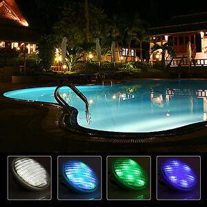 led rgb edelstahl poolbeleuchtung poolscheinwerfer strahler lampe fernbedienun ebay. Black Bedroom Furniture Sets. Home Design Ideas