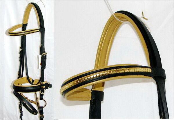FSS German POSH Comfort FANCY Brass METALLIC gold Padded CLENCHER Crank Bridle