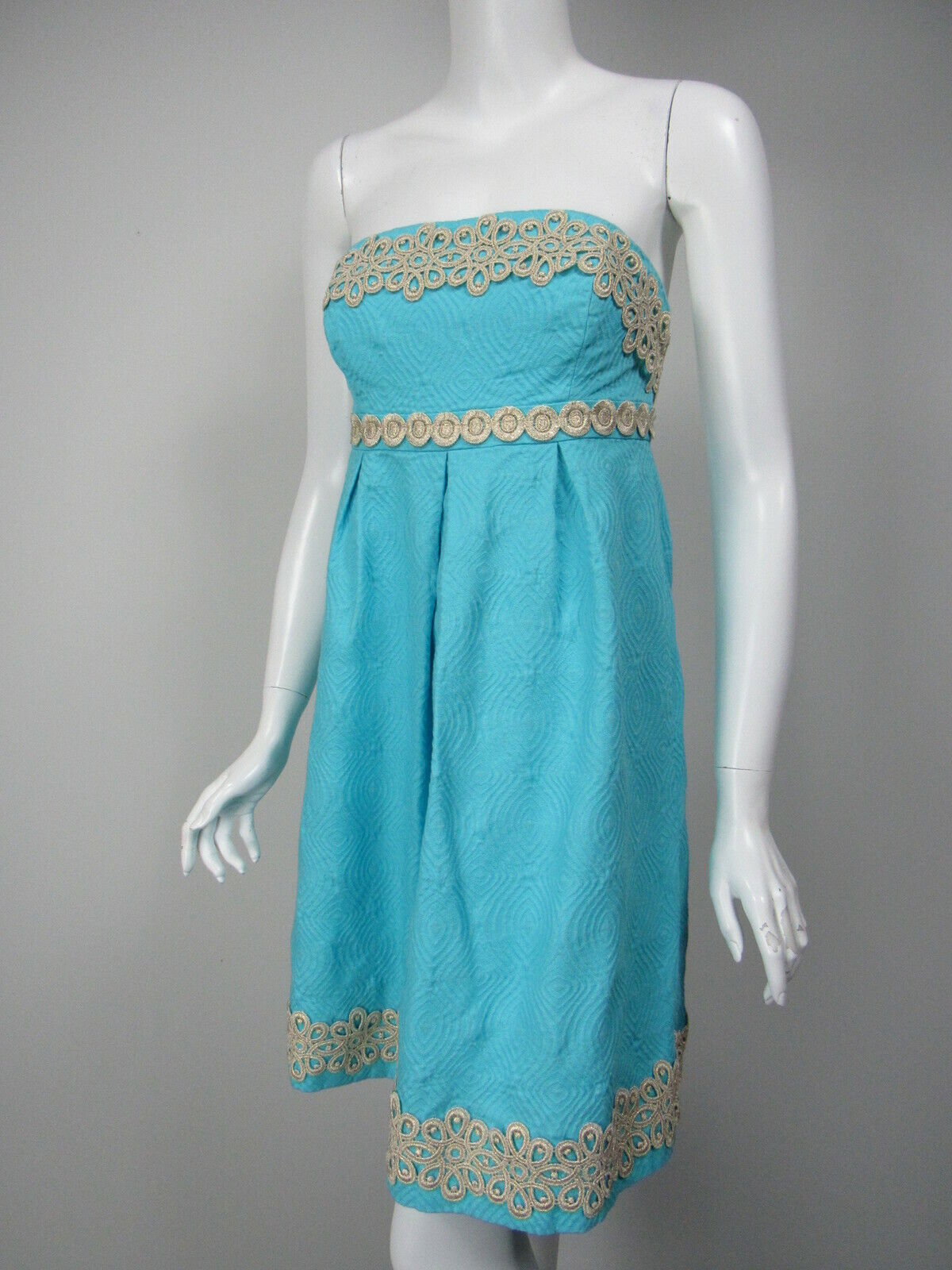 LILLY PULITZER Betsey Turquoise Jacquard or Metallic Lace Strapless Robe 00
