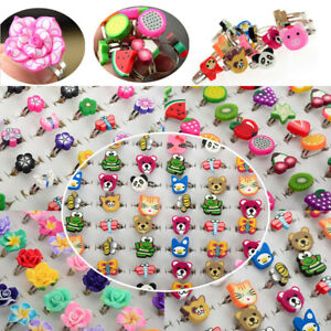 100Pcs Kids Children Birthday Party resin ring rings Jewelry wholesale Job Lot