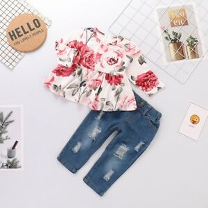 2018 Fashion Toddler Baby Girl Floral T-shirt Top+Jeans Denim Long Pants Clothes