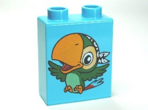 Brick 1 x 2 x 2 with Bird Skully the Parrot Pattern LEGO Duplo