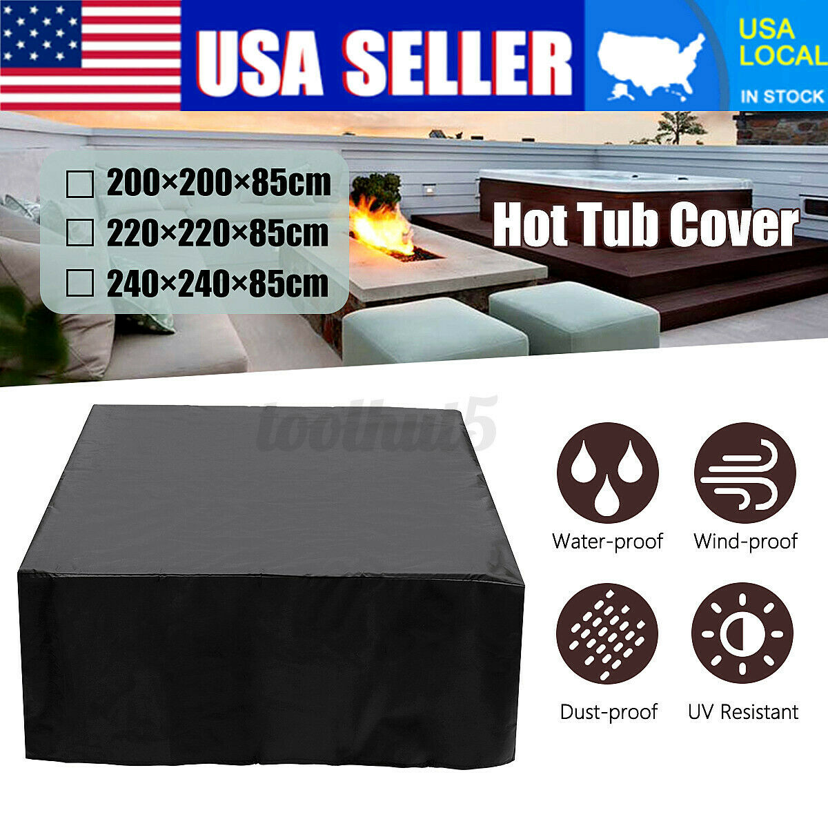 Hot Tub Spa Cover Cap Guard Waterproof Dust Protector Harsh Weather 5 Sizes