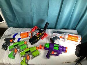 VTG-Lot-Of-6-Gun-Toys-Crossfire-strike-Nerf-Maverick-Rev-6-1992-NERF-SLINGSHOT