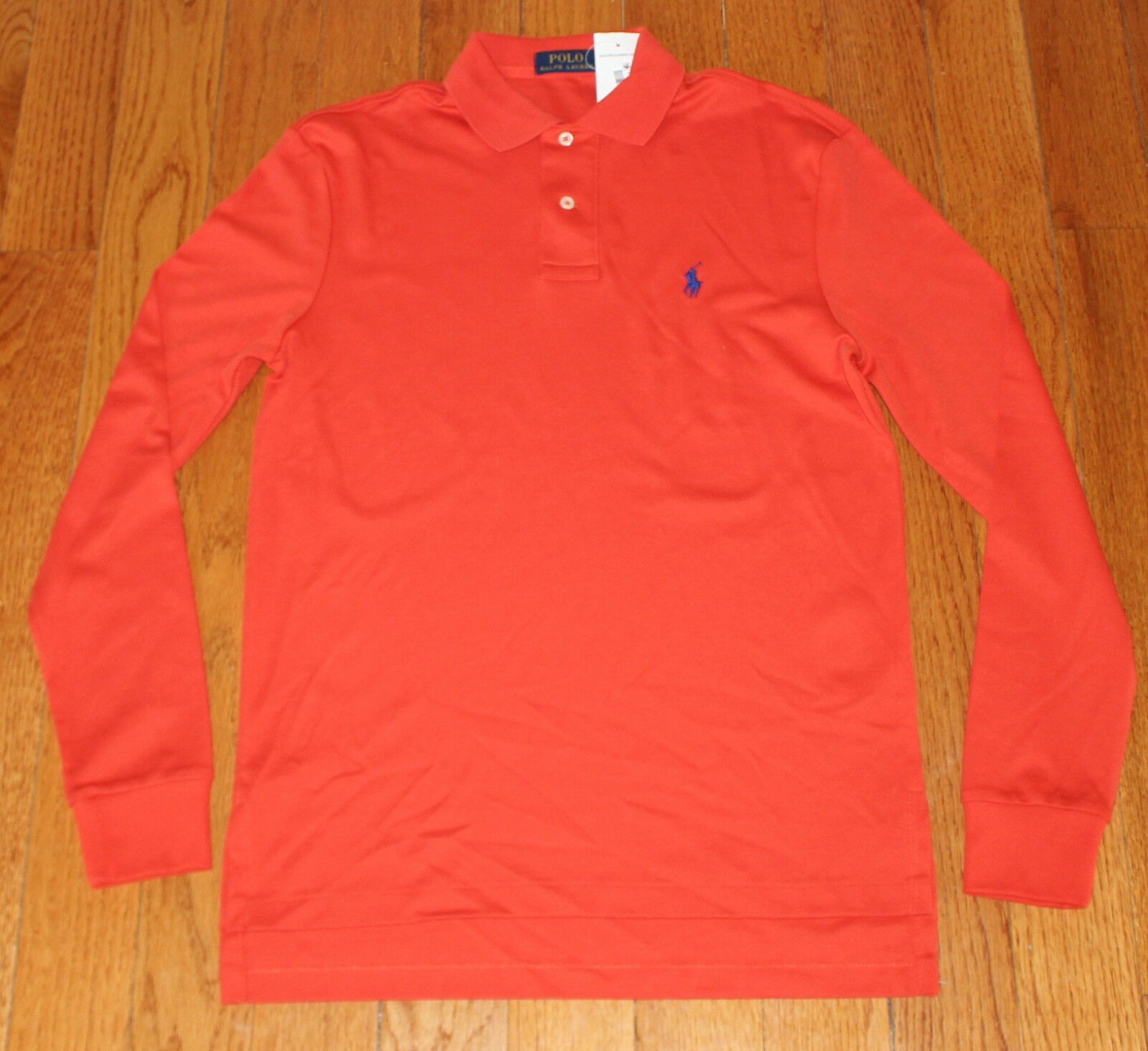 79.99 Brand Nuovo POLO Ralph Lauren SMALL Long Sleeve SMALL Lauren S arancia LS blu Pony NWT 6fcea6