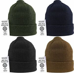 Image is loading Military-100-Wool-Knit-Winter-Hat-Wool-Watch- 7d88566c133