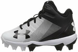 Under Armour Kids' Leadoff Mid Jr. Rm Baseball Shoe, Black (011)/White, Size 0.0