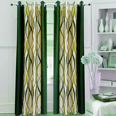 Homefab India Set of 2 ZigZag Green Curtains (HF267)