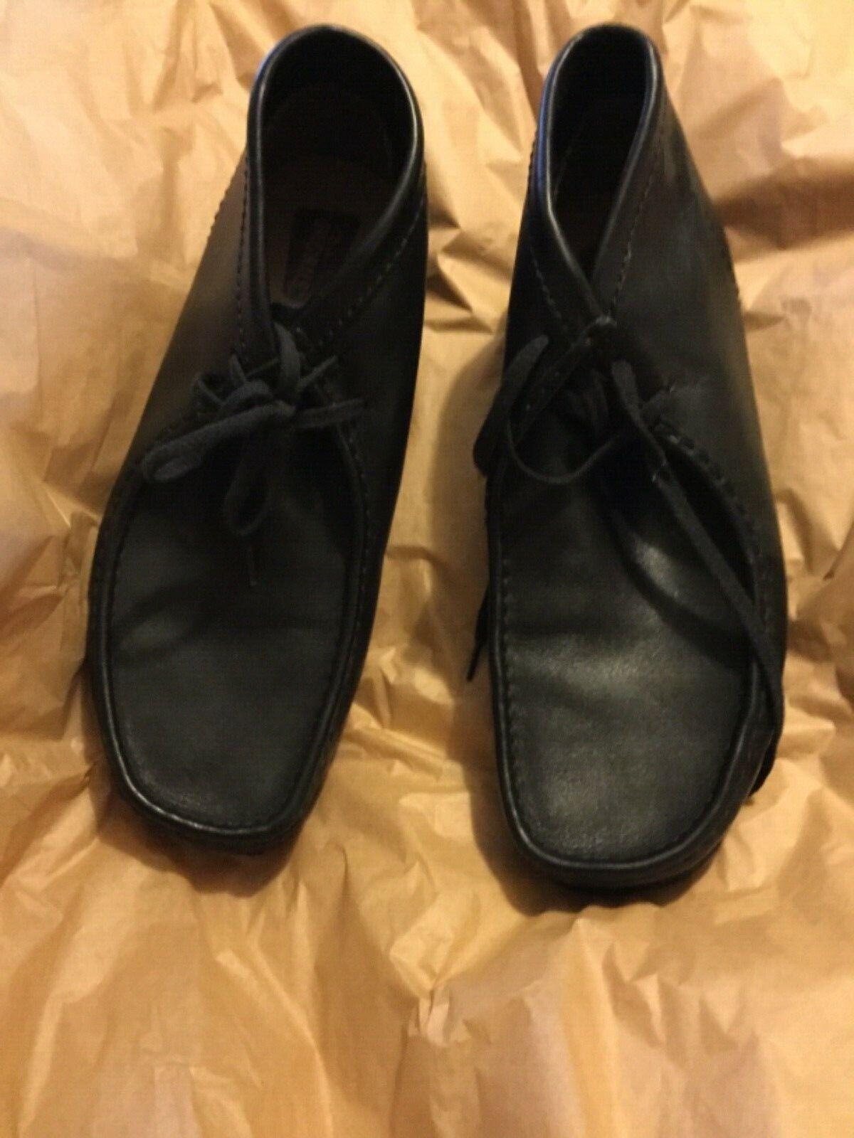 EXC COND Clarks Originals Wallabee Men's Black Leather Crepe Sole Oxfords - 12
