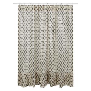 New French Country Shabby FLEUR DE LIS Black Ruffled Fabric Shower Curtain