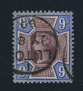 GB-QV-1887-SG209-9d-DULL-PURPLE-amp-BLUE-CANCELLED-LUTON-THIMBLE-DATE-STAMP