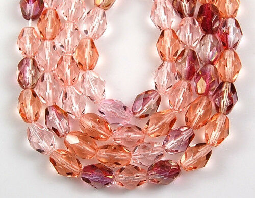 50 PCS Czech Mix Oval Faceted Soft Pink Fire Polished Glass Loose Beads 6x8mm