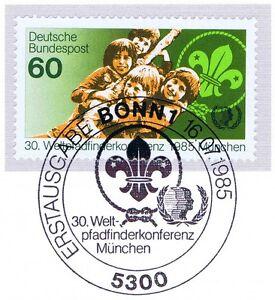 BRD-1985-Pfadfinderkonferenz-in-Muenchen-Nummer-1254-Bonner-Sonderstempel-1A