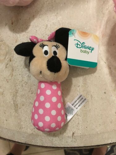 Minnie Mouse  Pink Polka Dot Disney Baby Girl Stick Rattle Toy Lovey Lovee