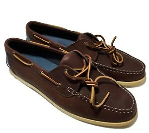 NEW-RALPH-LAUREN-COLLECTION-MEN-039-S-BROWN-LEATHER-BOAT-SHOES-9-5-D-595