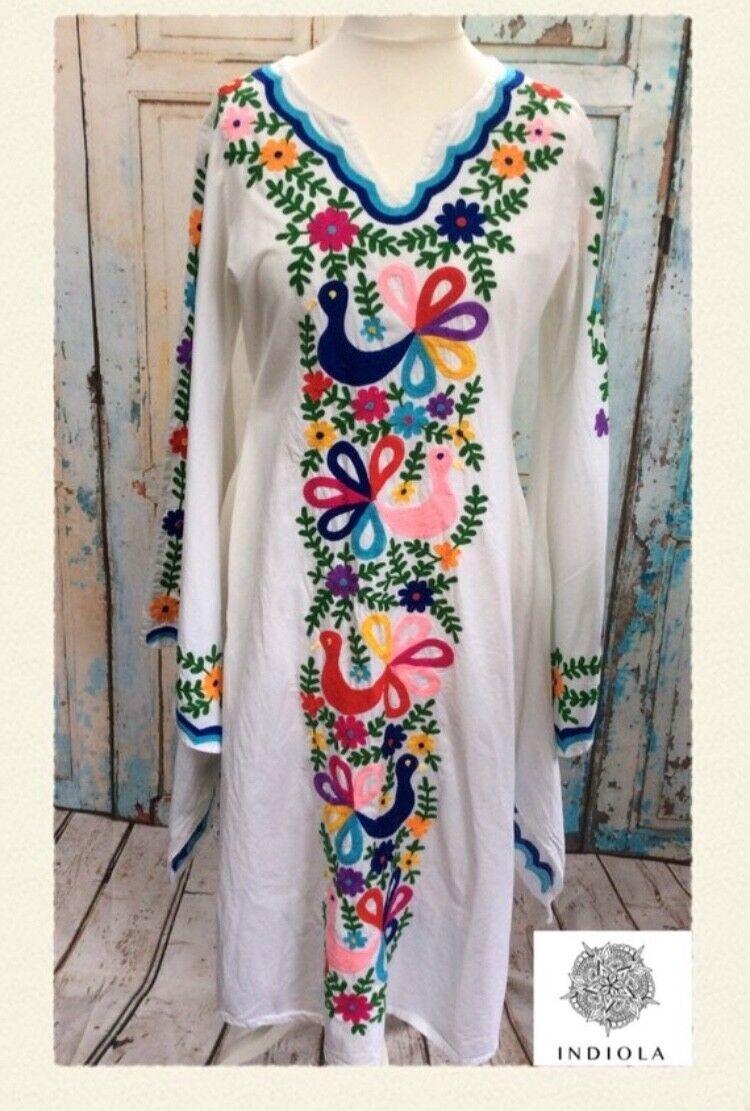 BNWT EMBROIDErot MEXICAN KAFTAN MAXI DRESS FIESTA BEACH WEDDING S, M, XL