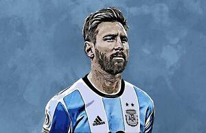 Messi Argentina Football Poster Print T1354 A4 A3 A2 A1 A0|