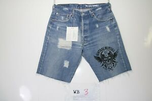 Levis-501-Bermuda-Stampa-Customized-cod-WB3-Tg-47-W33-Strappato-Vintage-Motor