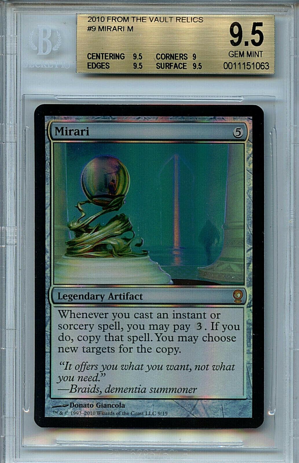 MTG From the Vault Mirari Mirari Mirari BGS 9.5 FTV Relics Mystic Foil Magic Card Amricons1063 48578e