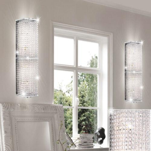 2x Luxus Wand Leuchten Kristall Design Strahler Schlaf Zimmer Flur Chrom Lampen