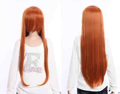 W-04-bc30 Orange Braun 80cm Cosplay Perücke Wig Hitzefest Anime Manga Lang Schnelle Farbe