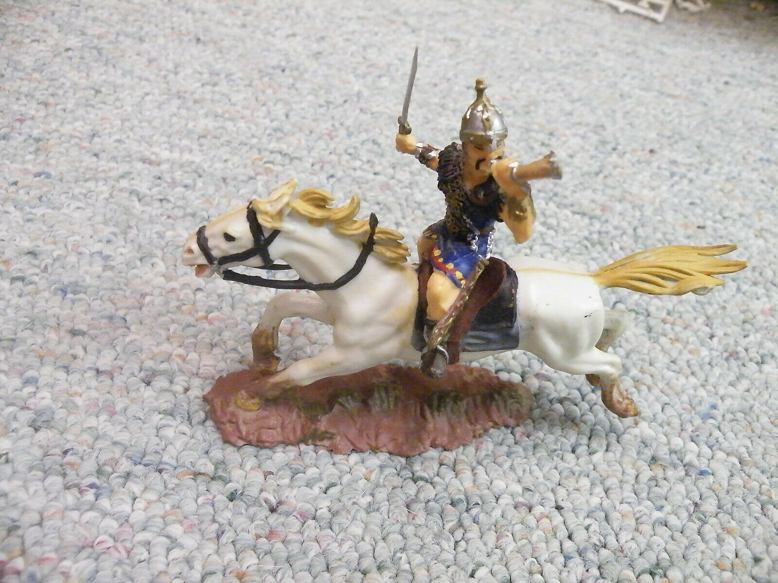 Elastolin 70mm Mounted Hun Mongol  with sword and horn