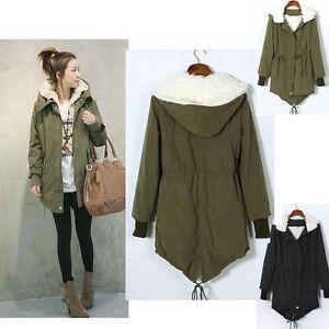 Mujeres-Invierno-Espesar-Fleece-Coat-Jacket-Zip-Up-capucha-larga-Parka-Abrigo-O