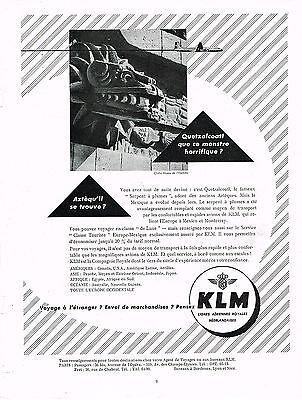 Collectibles Breweriana, Beer Honest Publicite Advertising 024 1953 Klm Compagnie Aérienne Néerlandaise