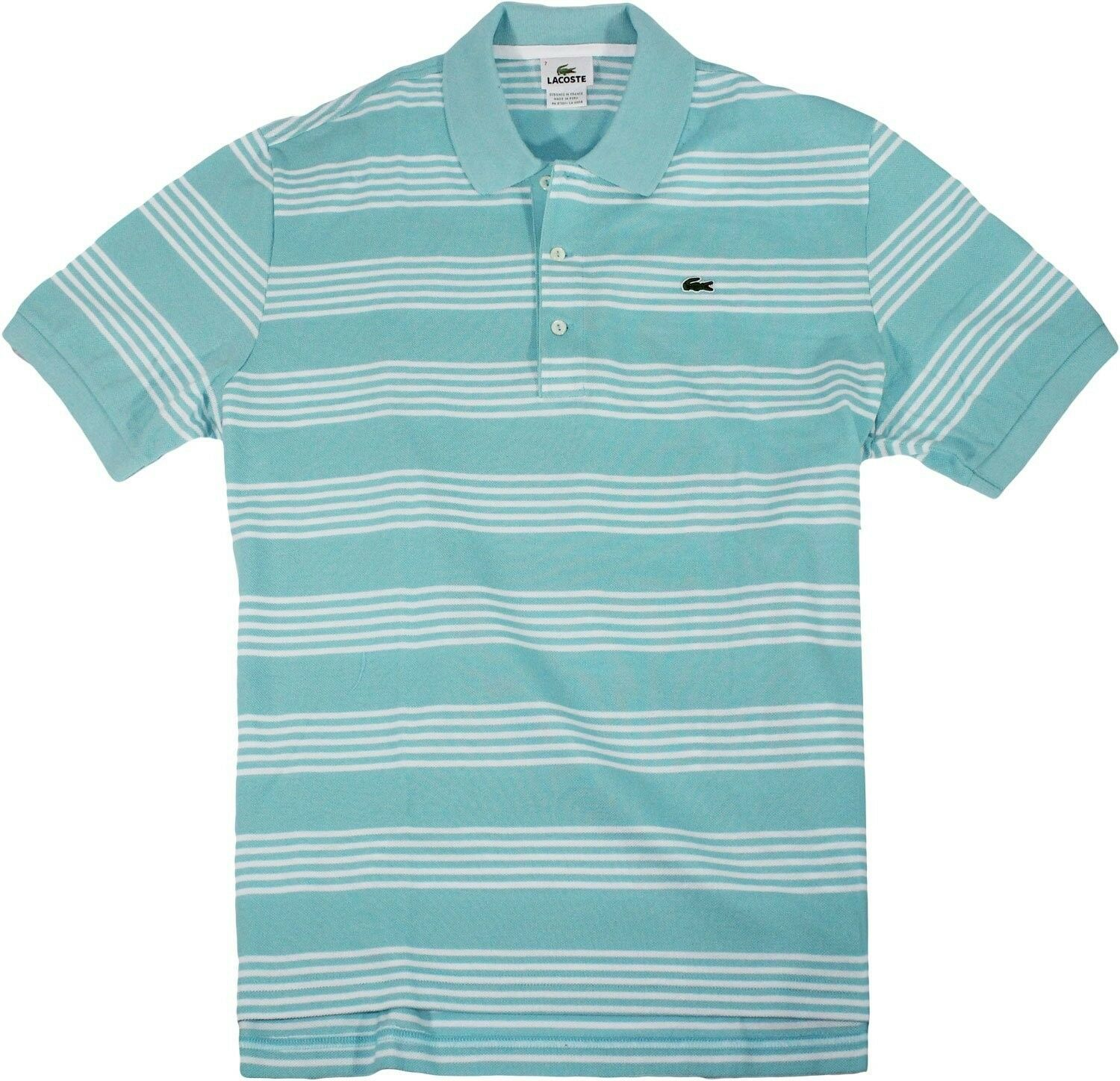 NEW NWT LACOSTE MEN'S PREMIUM SPORT ATHLETIC COTTON POLO SHIRT T-SHIRT AQUA