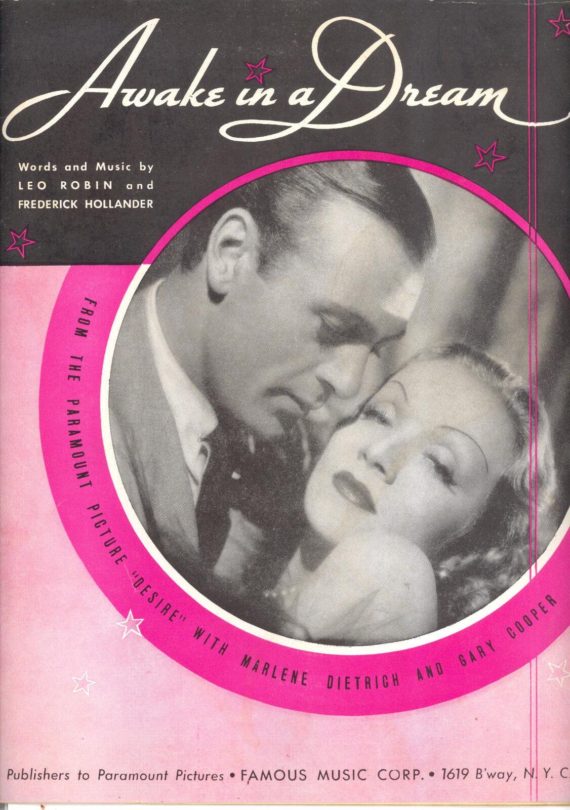 DESIRE Sheet Music  Awake In A Dream  Marlene Dietrich Gary Cooper