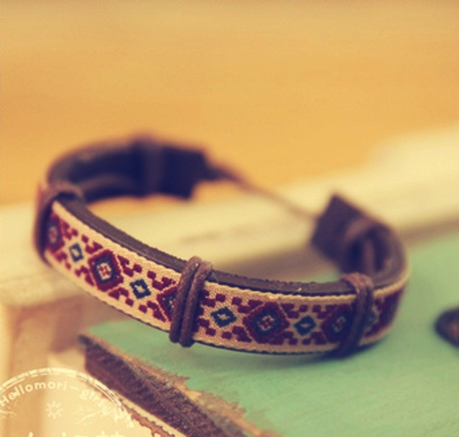 Women Lady Tribal Retro Bohemian Synthetic Leather Wristband Bracelet Chain