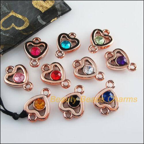20Pcs KC Gold Plated Mixed Acrylic UV Heart Charms Pendants 16x22mm