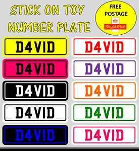 Coche-De-Juguete-Novedad-Childrens-numero-de-placa-placa-pegatina-personalizada-amp-gastos-de-envio