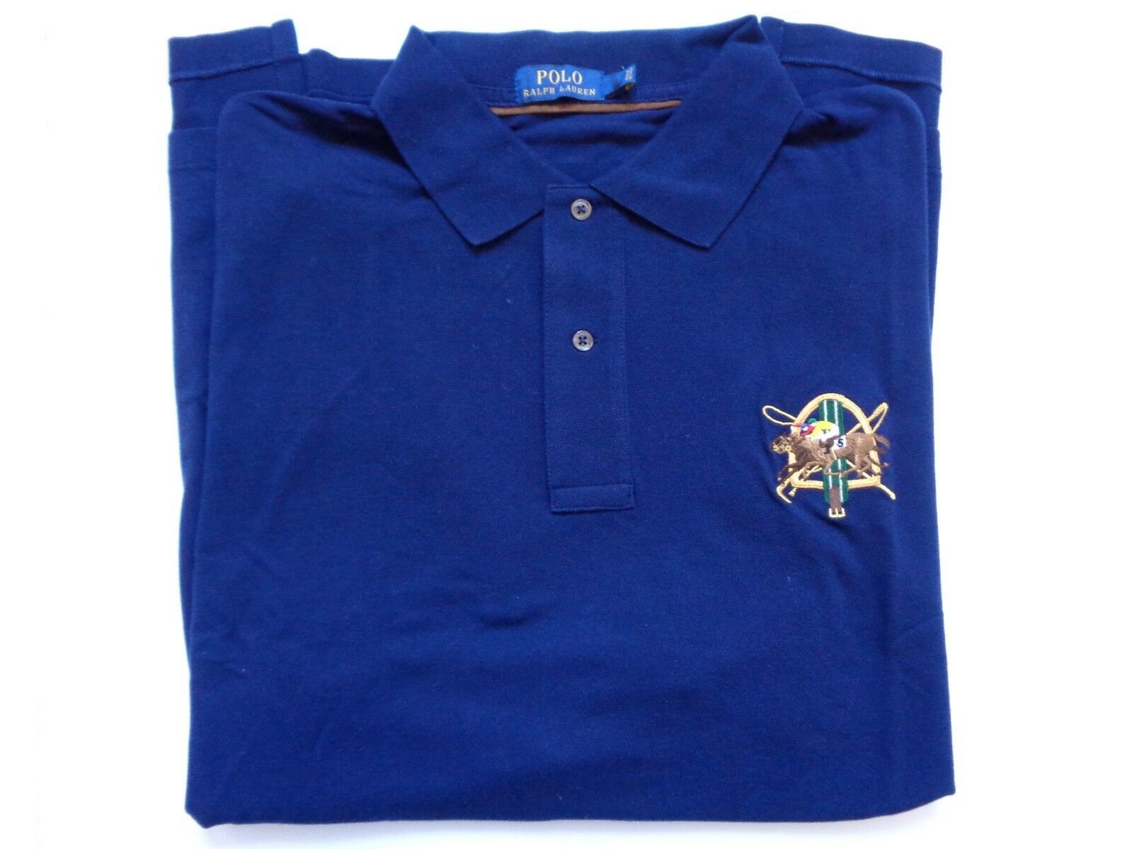 New Ralph Lauren Polo Big & Tall Cotton Navy bluee Equestrian Patch Shirt sz XLT